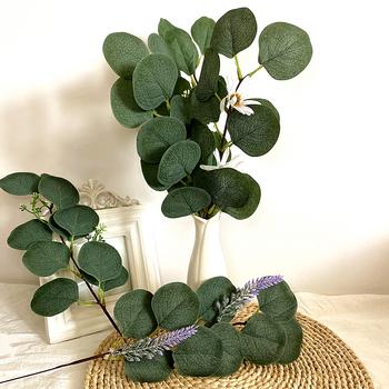 Sztuczne kwiaty liście eukaliptusa pędy Eucalipto gałęzie sztuczne rośliny na kwiatowe bukiety ślubne wakacje zielone dekoracje tanie i dobre opinie CN (pochodzenie) 1 pc Pulpit Jedwabiu GAŁĄZKA silk flower Semi manual and semi mechanical Other