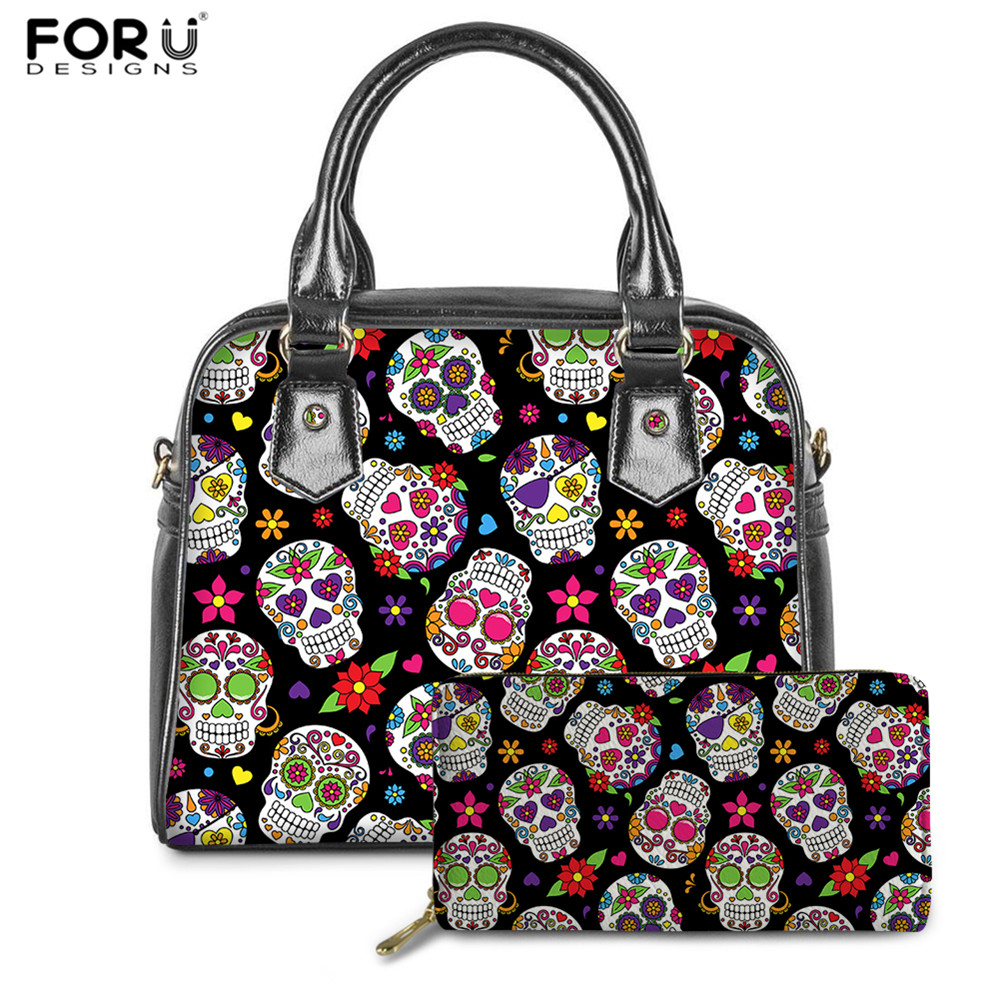 FORUDESIGNS Sugar Skull Print Women Bags Luxury PU Handbags Day Of The Dead Skull Gothic Bags Females 2pcs/set Hand Bag&Wallet