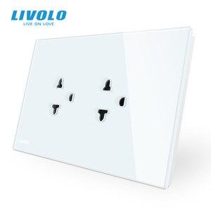 Image 3 - Livolo US AUมาตรฐานสวิทช์สัมผัส + US Socket,แผงคริสตัลแก้วสีขาว,US Touchซ็อกเก็ตพร้อมไฟLed