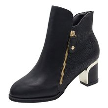 New Autumn Winter Women Fashion PU Leather Martin Boots 6CM Heels Ladies Ankle Thick Pointed Toe Short Booties Zapatos de mujer цена