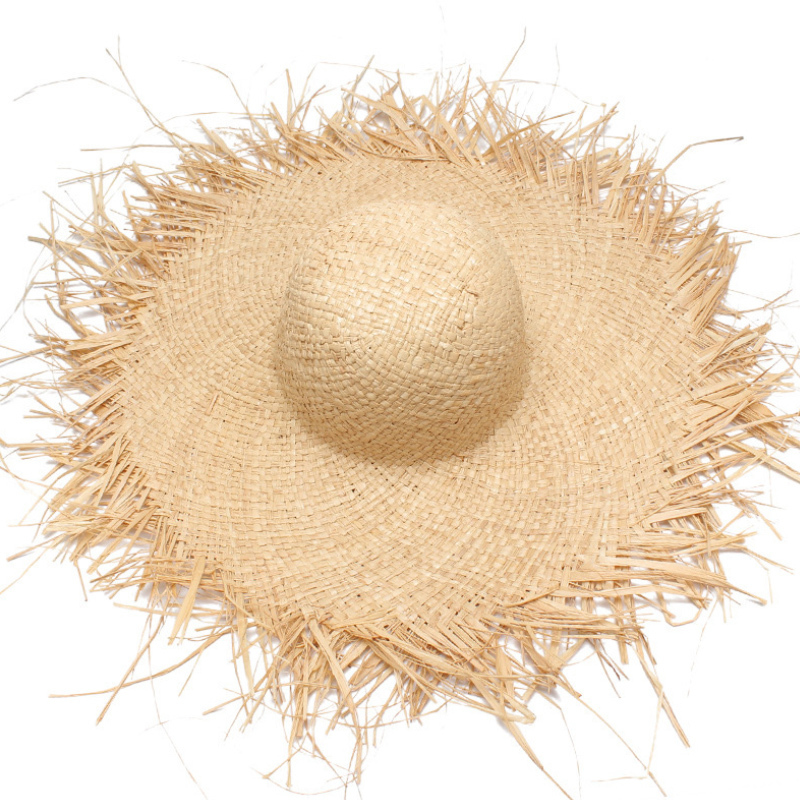 NEW Handmade Women Straw Sun Hats Large Wide Brim Gilrs High Quality Natural 100%Raffia Panama Beach Straw Sun Caps For Holiday