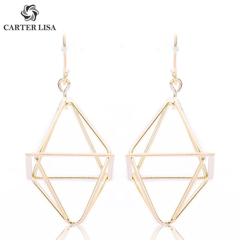 CARTER LISA Geometric Hollow Rhombus Drop Hook Earrings For Women Girl Fashion Jewelry Party Accessories Gifts