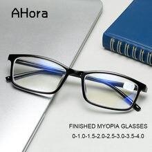 Ahora tr90 terminou miopia óculos ultraleve preto míope para mulher e homem óculos de visão curta Eyeglassses0-1.0-1.5...-4.0
