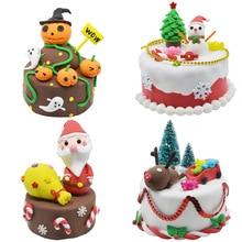 Children DIY Nontoxic Lightweight Cream Clay Simulation Birthday Cake Toys Fimo Plasticine Cake Toys Set Intelligence Toys diy simulation fruit cake birthday toys set 54pcs