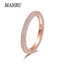 MANBU 2019 New Product Rose Gold Rings 925 sterling silver pave setting CZ rings for women valentines Gift Hot