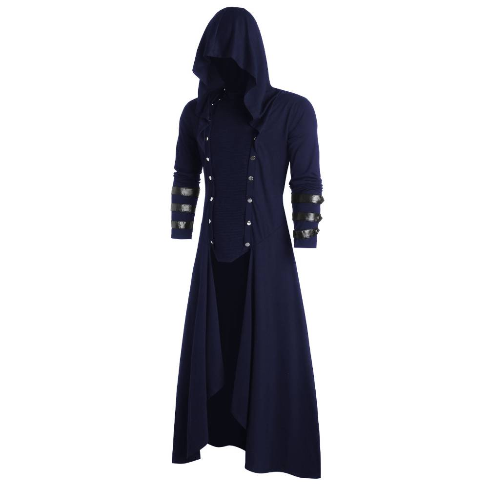 ROSEGAL Plus Size Faux Leather Insert Button Up Low Gothic Hoodie Men Long Sleeve Sweatshirts Gothic Party Halloween Outwear