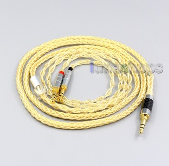 LN006500 3.5mm 2.5mm 4.4mm XLR 8 Cores 99.99% Pure Silver + Gold Plated Earphone Cable For Onkyo A800 Headphone
