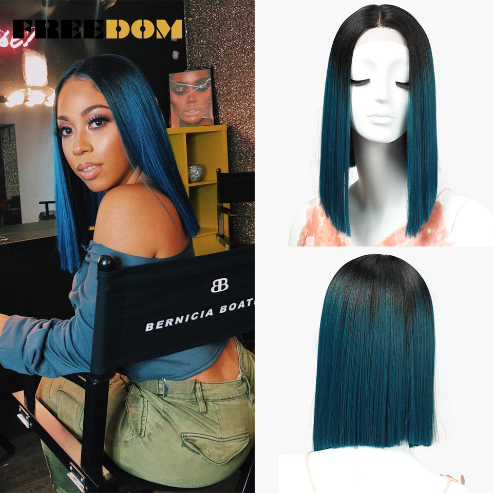 FREEDOM Straight Synthetic Lace Wig 14 Inch Bob Ombre Red Blond Blue Color Cosplay Wig Summer Hot Sale Free Shipping