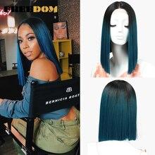 FREEDOM perruque synthétique Lace Front Wig lisse de 14 pouces, perruque dété pour Cosplay au carré ombré, rouge, Blond et bleu livraison gratuite dentrepôt aux états unis