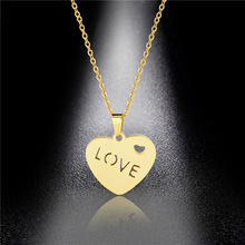 Necklace Stainless Steel LOVE Letter Necklace Female Clavicle Chain Accessories Titanium Steel Heart Pendant Factory Direct Sale недорого