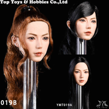1/6 female head carving YMTOYS YMT019 Jing planting Asian beauty sculpt with Ponytail planted hair for pale Female Body toy
