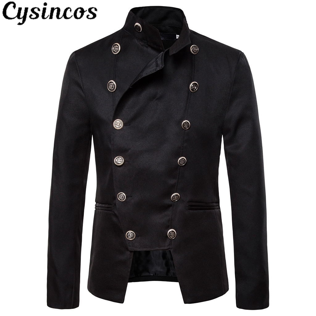 CYSINCOS New Style Fashion Wind Double Breasted Metrosexual Man Suit Jacket Dress Blazer Men Wedding Stage Performance Clothes