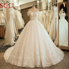 Off the Shoulder Wedding Gowns Bride Dress Embroidery Lace Ball Gown Wedding Dress 2019(China)