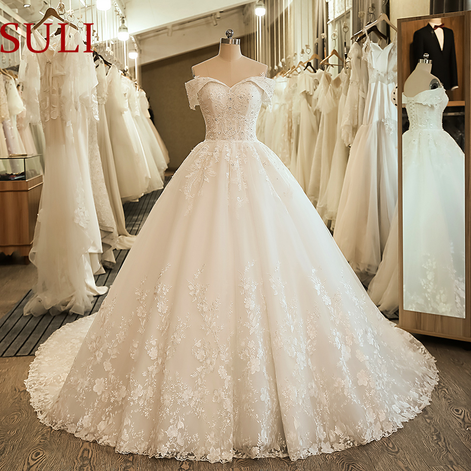 SL-5061 Off the Shoulder Wedding Bridal Dress Ball Gown Embroidery Lace applique Boho Wedding Dress 2020 title=