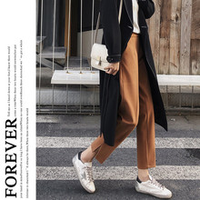 JUJULAND woman winter woolen solid pants casual thick warm Stretch waist straight trousers  815