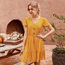 Новый дизайн лето полосатый макси платья для женщины когда-либо довольно случайные V-образным вырезом с коротким рукавом платье день рождения колен