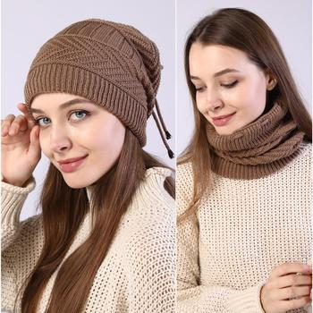 fashion women stretchy knitted Skullies Beanies Hat solid snood scarf warm Beanie For womem Autumn winter Female cap - discount item  40% OFF Hats & Caps