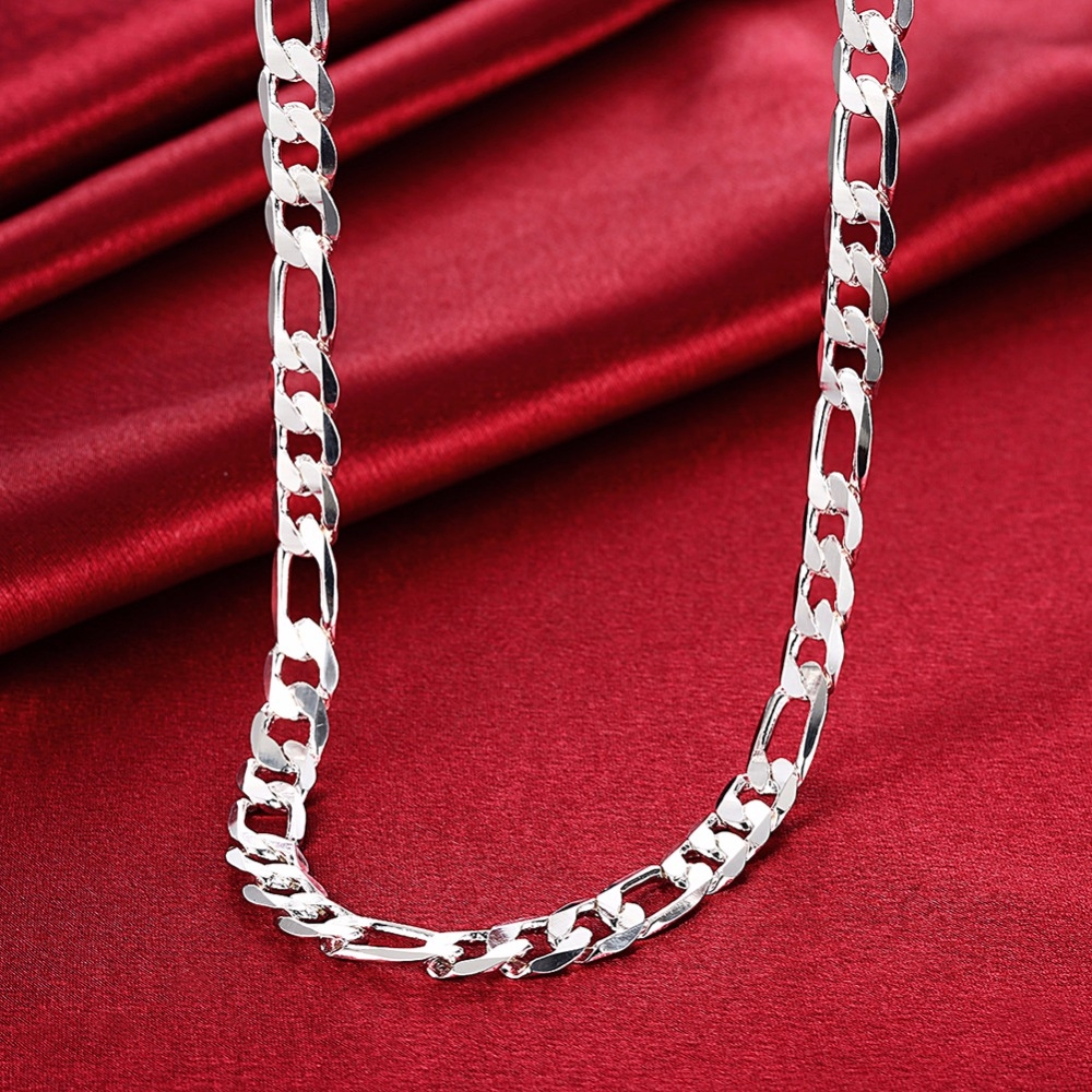 High Quality 10MM 20'' 24'' 50cm 60cm Men Necklace 925 Silver Figaro Chain Necklaces For Male Jewelry Party Gift
