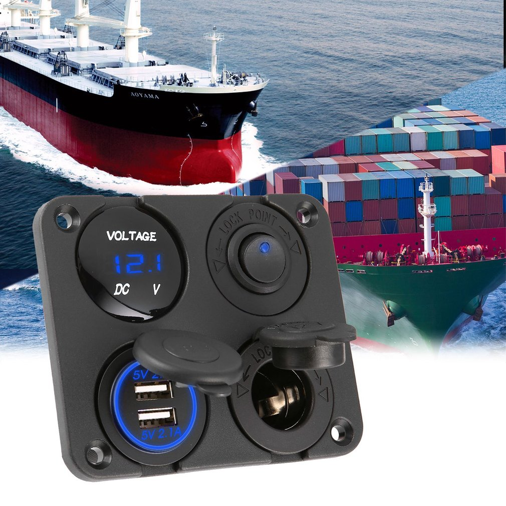 Dual USB Ports Car Charger + LED Voltmeter + 12-24V Power Socket + On-Off Switch 4 In 1 Car Marine Boat LED Switch Panel