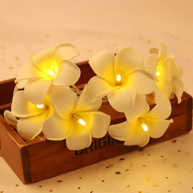 Hawaiian Flower LED String Lights Fairy Lights Wedding Party Frangipani Wedding Plumeria Garland Party Bedroom Patio Home Decor