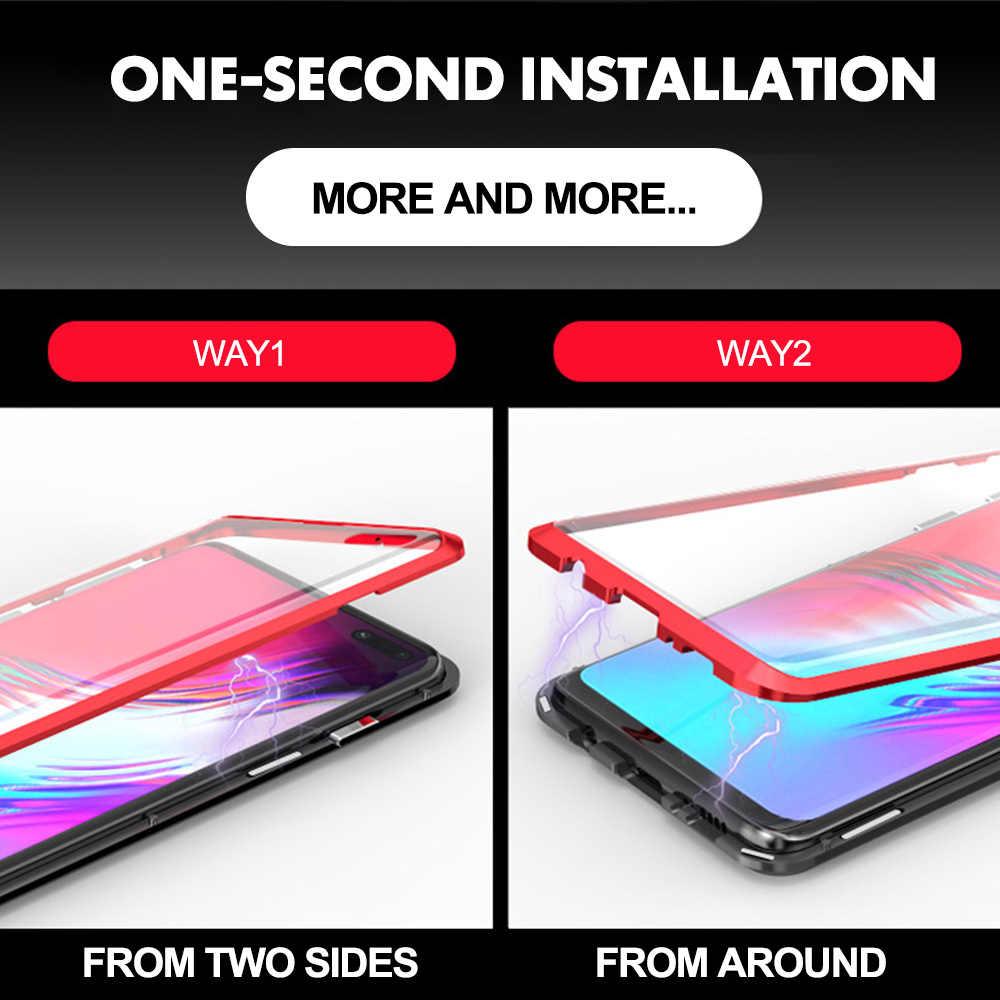 両面マグネット 360 プロテクターケース Huawei 社 P30 プロ P30 P30 Lite 強化フロント Huawei 社のメイト 20 プロ P20 Lite のケース