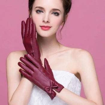 Touch Screen PU Leather Gloves Women Winter Mittens Warm Bow Gloves For Woman Black Leather Driving Gloves Women women winter touch screen gloves frill trim plus velvet faux leather mittens b95f