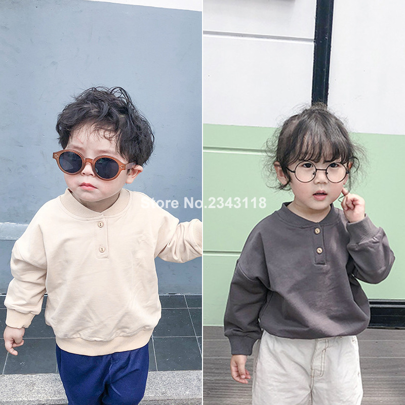 T-Shirts Tops Long-Sleeve Boys Kids Solid-Color Casual for Threaded-Collar Japanese-Style