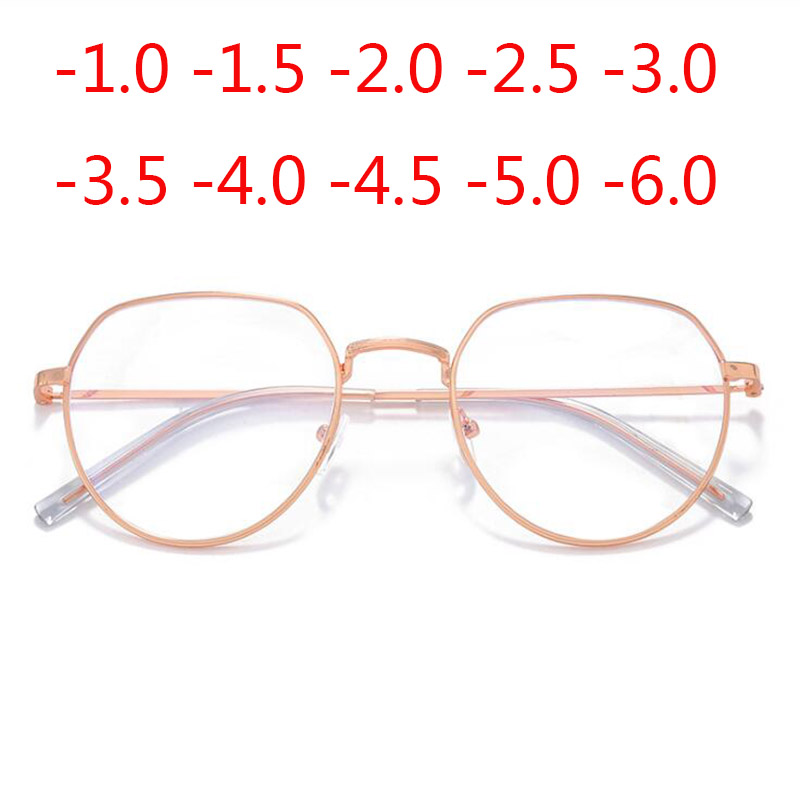 Rose Gold Irregular Frame Finished Myopic Glasses Women Retro Metal Student Short-sighted Spectacle 0 -1.0 To -6.0