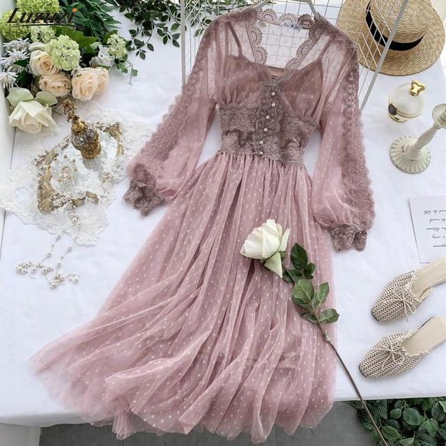 Lace Floral V Neck Long Sleeves  Polka Dot Pearls Sweet Mesh Dress 1