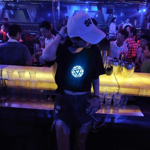 Iron Man LED Electro Luminescent EL Light Acoustic Control Short-sleeved T-Shirt Sound Activated Shirt for Party
