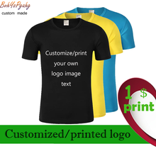 Design your own printed brand logo pictures Customize men's and women's T-shirts and large-size casual T-shirts Custom clothing