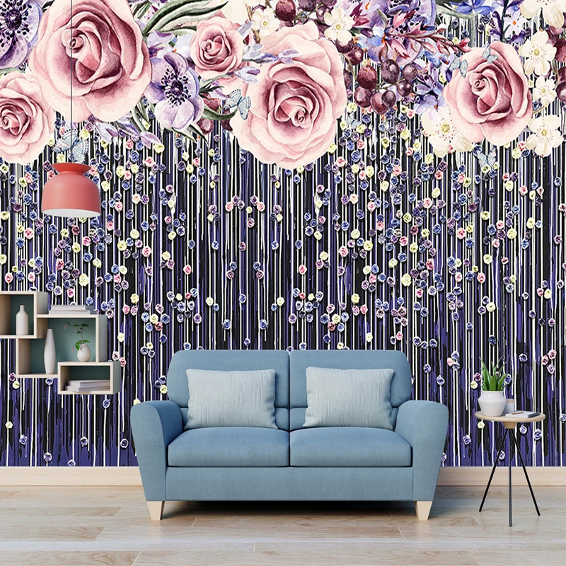 3D Wallpaper Modern Hand-Painted Flowers Rose Photo Wall Murals Living Room Wedding House Romantic Home Decor Papel De Parede 3D