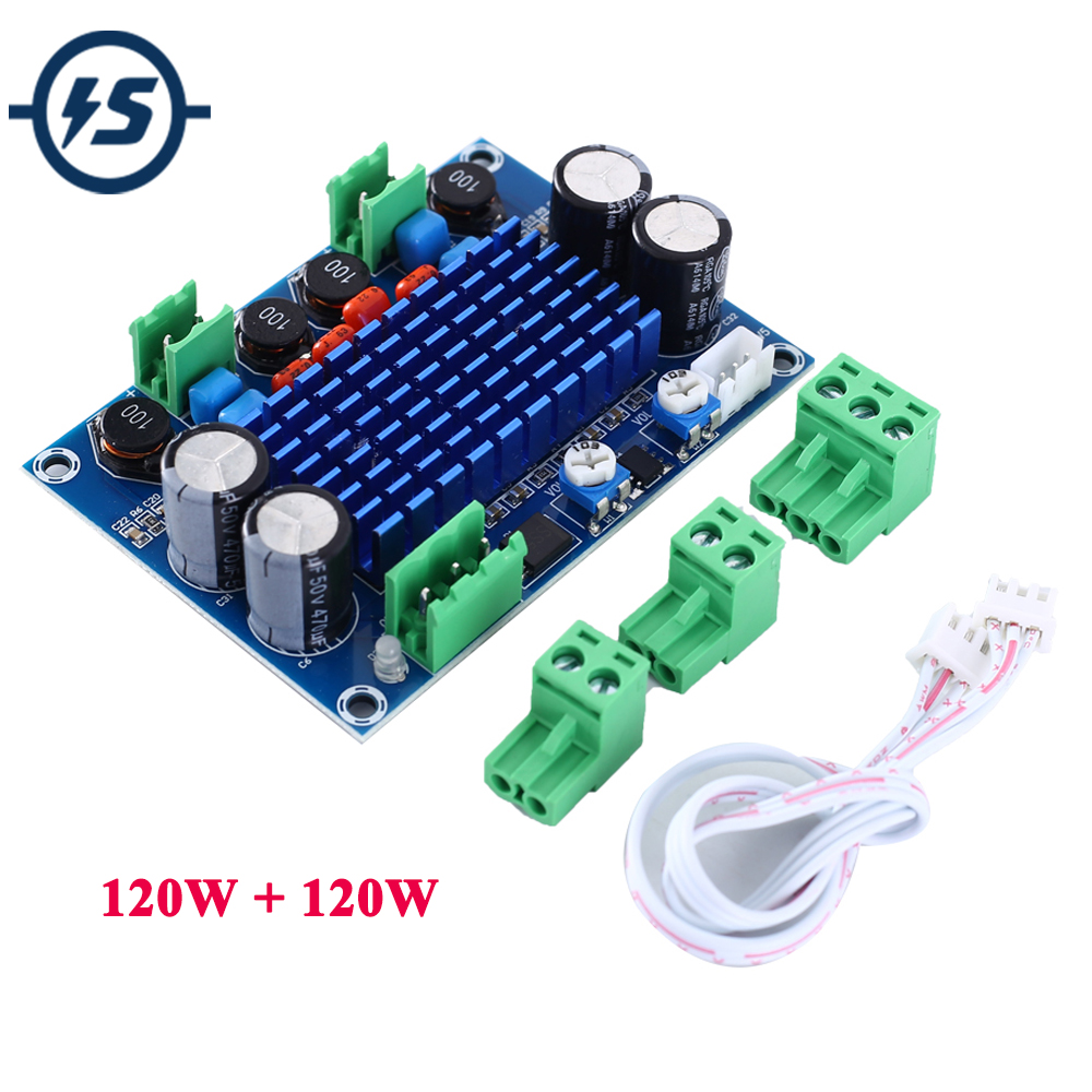 High Power Digital Amplifier Board Module <font><b>DC</b></font> 9V <font><b>12V</b></font> 24V TPA3116D2 2*120W Dual Channel Stereo Output 5-28V image