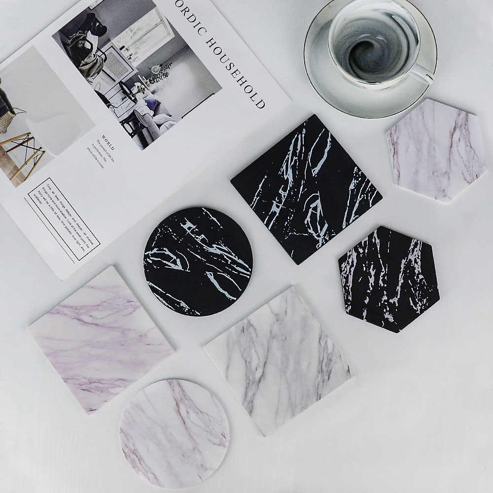 Chic Creative Silicon Coaster Emulation Marble Coffee Cup Mat Black White Soft Waterproof Desktop Non-slip Pad Table Decoration
