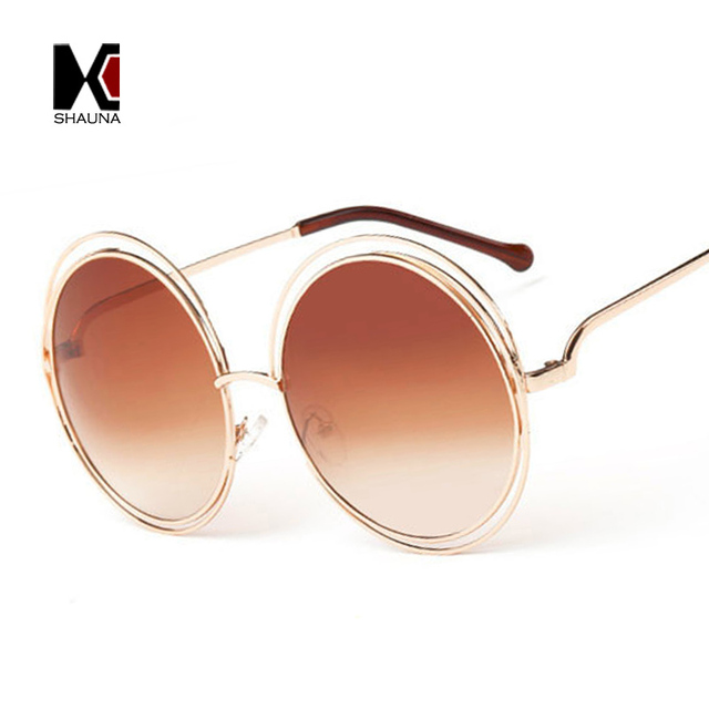 Vintage Oversize Round Sunglasses Women Alloy Around Hollow Frame Brand Designer Fashion Circling Frog Sun Glasses UV400 5