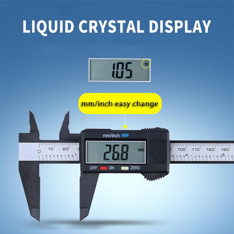 0-150 мм ЖК-дисплей цифровых электронных углеродного волокна штангенциркуль 6 дюймов Микрометр Линейка цифрово измерительный инструмент от ...