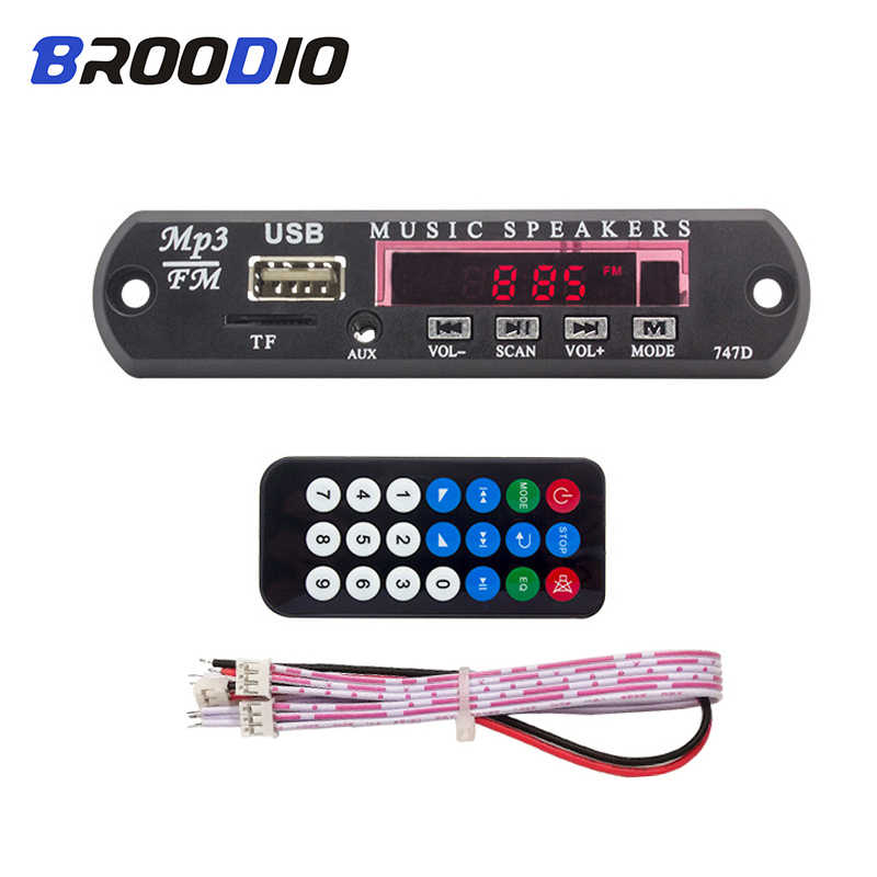 5 v 12 v dc mp3 player módulo aux 3.5mm usb tf fm rádio de áudio mp3 wma decodificador placa para acessórios do carro remoto música speake modul