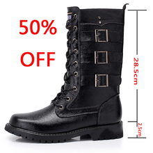 Leather boots Army Boots Men High Military Combat Men Boots Mid Calf Metal Chain Male Motorcycle Punk Boots Spring Men's Shoes new motorcycle fur boots men brand military boots pu leather spring black metal gothic punk boots male shoes botas moto hombre