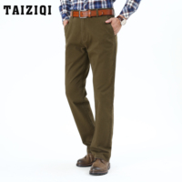 TAIZIQI Army Pants brand high quality ELASTIC FORCE Thick straight Mid waist comfort clothing Casual Pants For Mens 8M32