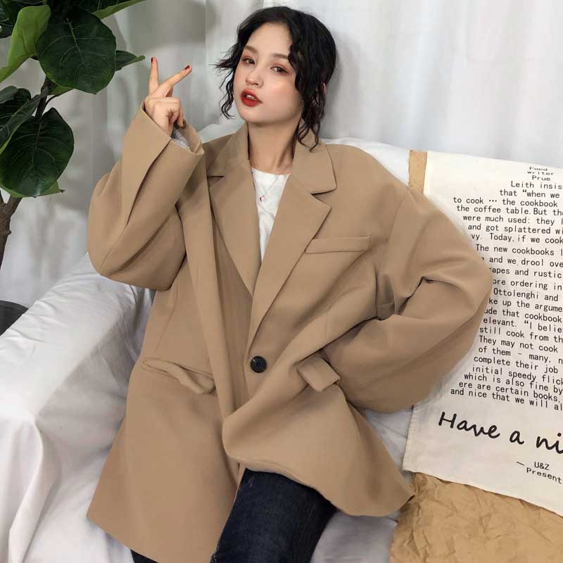 Korean 2019 Spring Fashion Women Blazer Long Sleeve Casual Loose Preppy Style Single Button Jacket Tops Female Coat Oversize