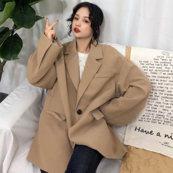 Korean 2020 Spring Fashion Women Blazer Long Sleeve Casual Loose Preppy Style Single Button Jacket Tops Female Coat oversize 2019 spring new women half sleeve loose flavour black dress long summer vestido korean fashion outfit o neck big sale costume