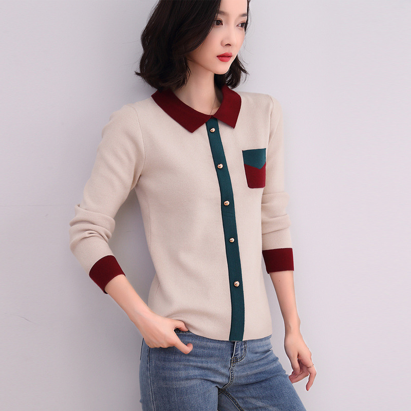 Knitted Sweater Women 2019 Autumn Fashion Pullover Turn-down Collar Contrast Color Knitwear Pull Femme Women Sweaters Knit Tops