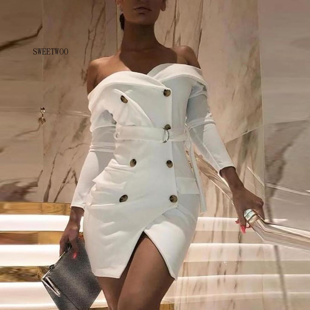 Sexy Womens Suit White Off Shoulder Blazer Dress Women Wrapped Chest Button Long Sleeve Bandage Bodycon Dress Elegant Club Dress