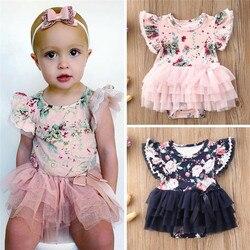 0-24m bebê menina macacão floral impressão babados manga macacão para recém-nascidos topos verão casual tule tutu vestido meninas macacão
