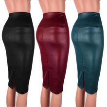 купить Leather Skirt High Waist Slim Party Pencil Skirt Women PU Leather Midi Skirt Autumn Ladies Package Pencil Skirt Plus Size по цене 492.39 рублей