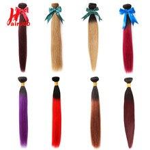 Hairugo cabelo brasileiro tecer pacotes de cabelo em linha reta pacote 1b99j/bug/1 bpurple 100% feixes de cabelo humano remy tecer cabelo 10-24 polegada