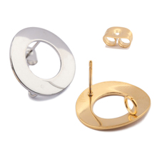 10pcs Gold Plated Stainless Steel Hollow Round Hoop Stud Earrings Post Connectors With Loop Diy For Ear Jewelry Making Findings 10pcs stainless steel ball studs earring pins post gold rhodium color ear stud with loop for diy accessories jewelry making z866