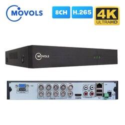 Гибридный видеорегистратор MOVOLS 4K 8CH H.265 8MP 5MP 5 IN 1 AHD CVI TVI CVBS для комплекта видеонаблюдения HDMI VGA Onvif P2P видеорегистратор