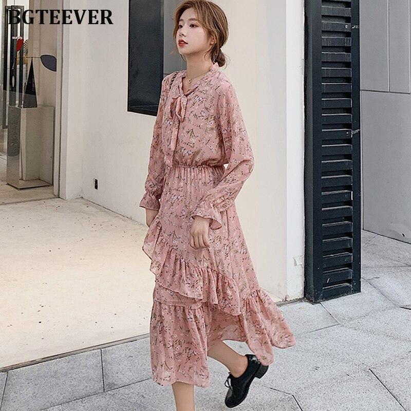 BGTEEVER Floral Print Chiffon Women Dress Lace Up Collar Irregular Ruffles Female Long Dress Vintage Flare Sleeve A-line Vestido