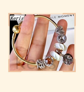 High Quality Reproduction 1:1 100%925 Pure Silver New  Gold Glaze Beads Hanging Tag String Bracelet Free Of Charge